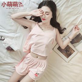 韩版清新睡衣女夏季纯棉无袖短袖学生性感家居服夏天吊带两件套装