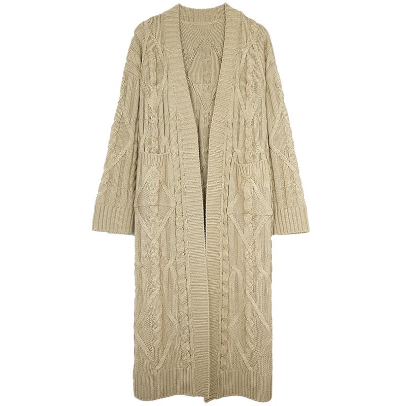 2020秋季韩版慵懒风宽松超长款棉线麻花针织开衫加厚毛衣外套女装