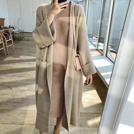 2021春季新款女上衣宽松长款过膝羊毛针织开衫慵懒风外搭毛衣外套