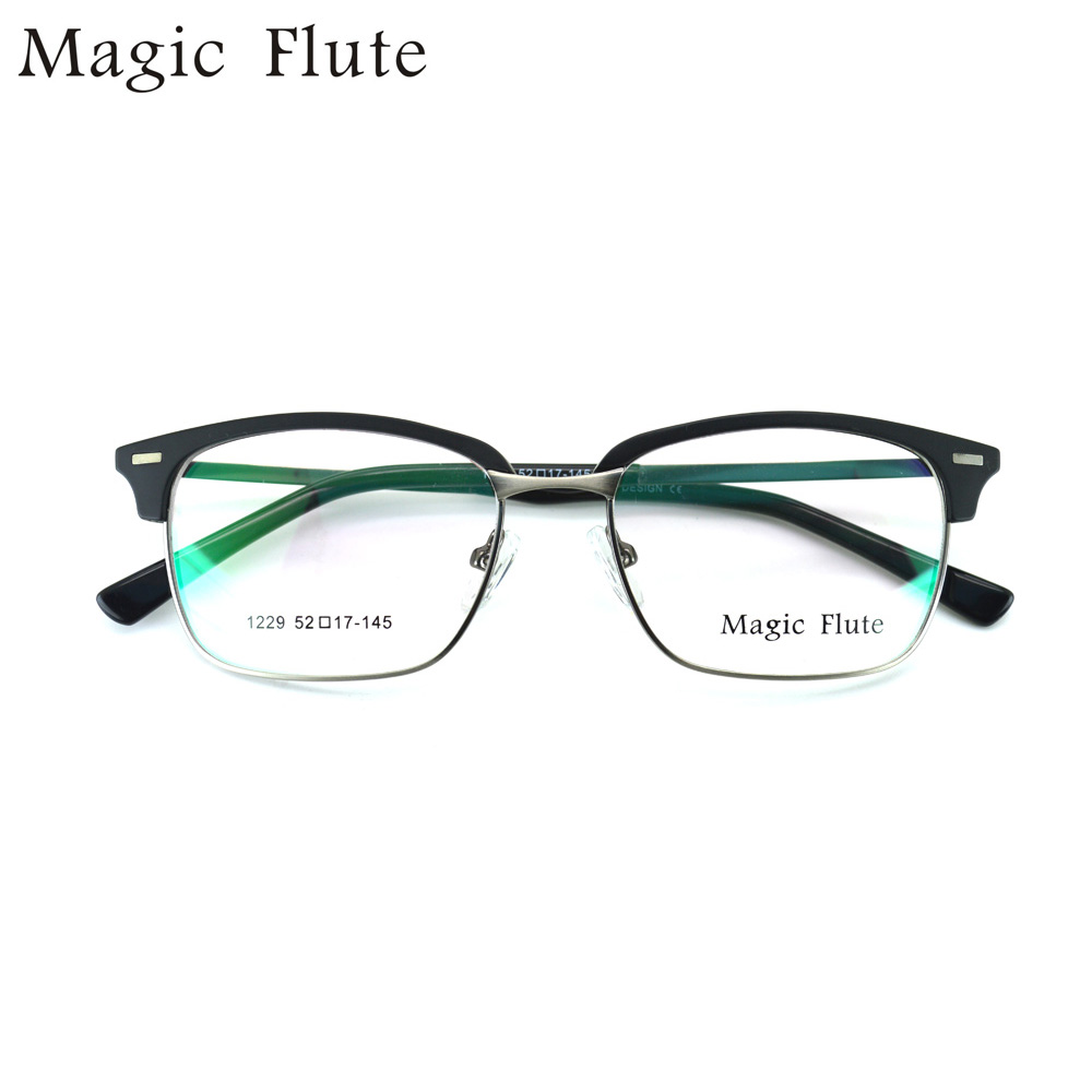 Retro half frame eyeglass frame male square large frame metal TR90 with myopia glasses finished spectacle frame female