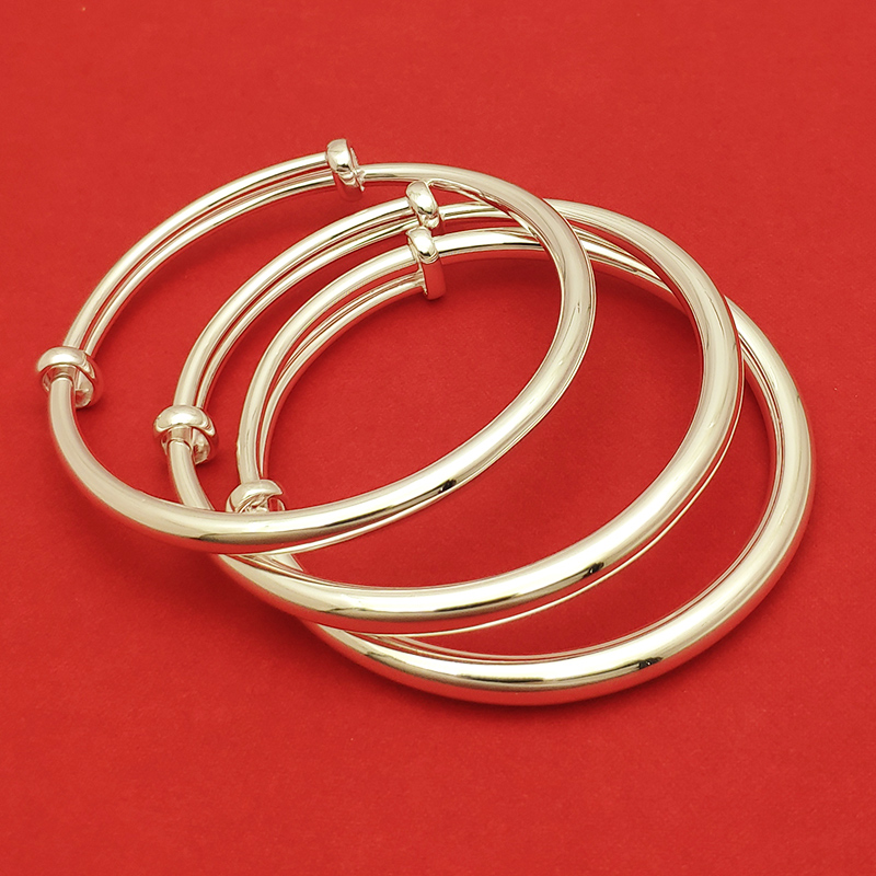 Pure silver 999 full silver smooth Bracelet solid push pull silver bracelet childrens simple adult parent child full moon silver jewelry