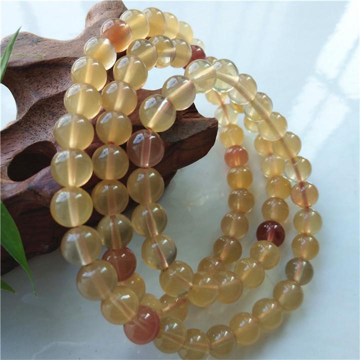 热卖真品天然黄兔毛水晶三圈手链绕手腕佛珠美容运男女宝石项链8M