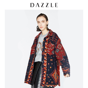 DAZZLE地素 冬装新款 民族风翻领夹薄棉毛呢外套大衣女 2A4G2356T