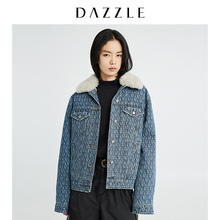 Liu Wen's same dazzle's new winter 2019 flannelette collar cotton jeans women's 2g4h6201s
