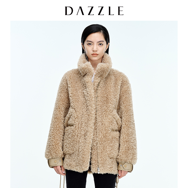 DAZZLE 2020 winter new deep khaki casual fur padded coat jacket female 2C4G2221N