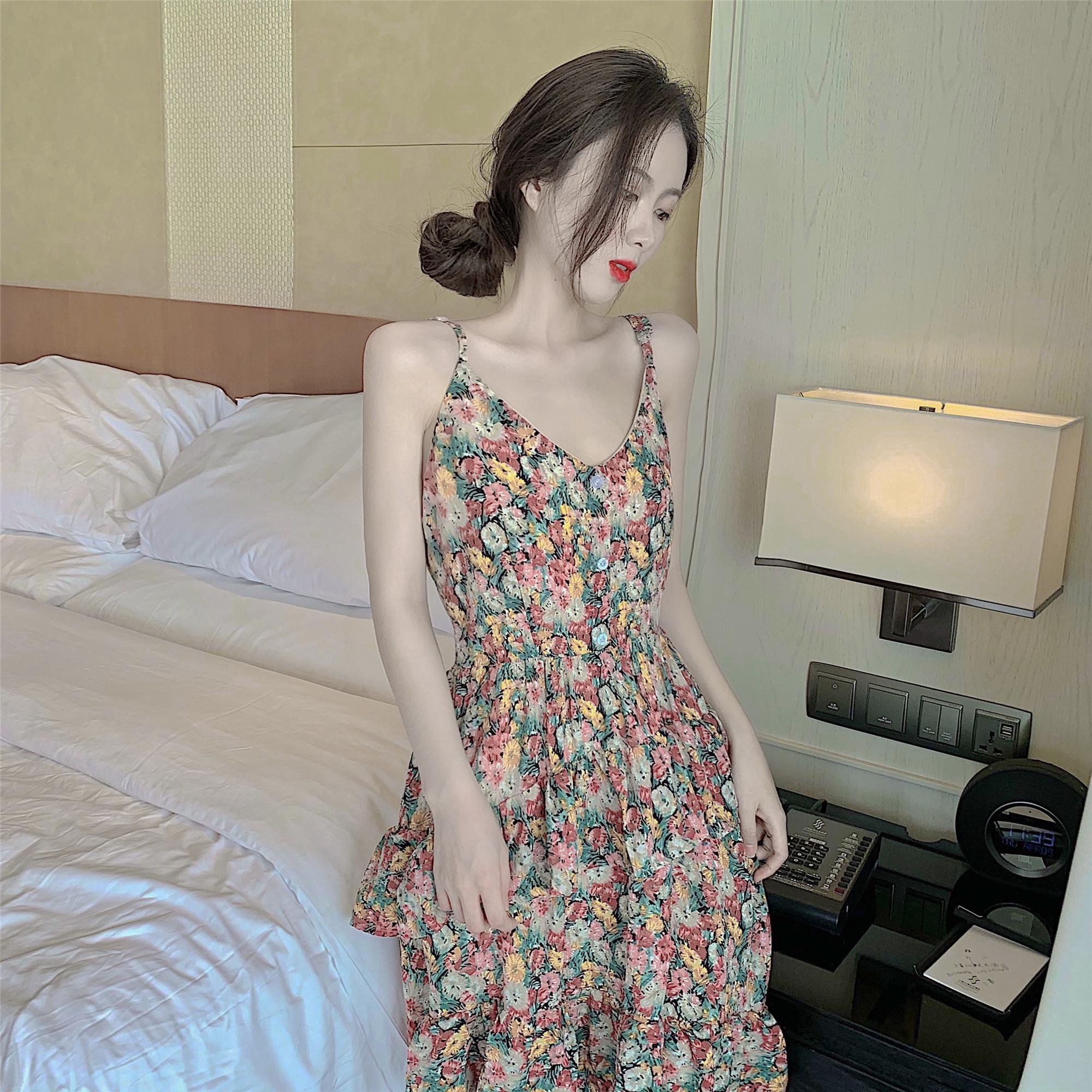 实拍~实价 新款雪纺小个子碎花连衣裙长款吊带蛋糕裙