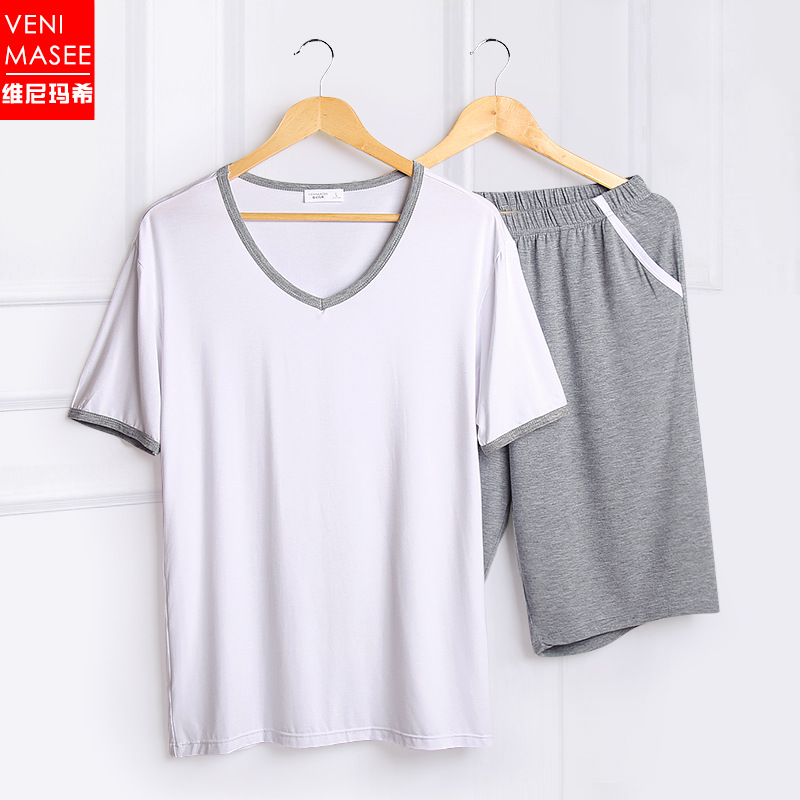 Summer mens thin pajamas loose leisure sports young mens modal oversize short sleeve home suit