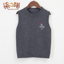 男童毛衣背心儿童纯色羊绒衫薄款男宝宝套头坎肩小童针织毛线马甲