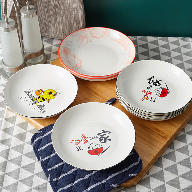 Chinese household disc porcelain plate tableware creative cartoon lovely bone china plate ins wind beautiful net red anti scald