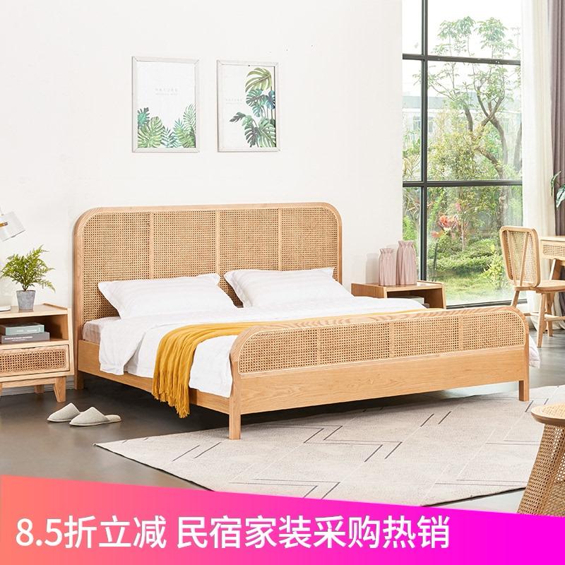 北欧中古法式实木床1.8米白蜡木藤编双人床现代简约主卧民宿家具