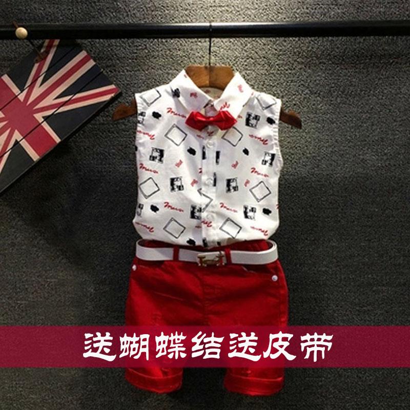 童装男童夏装19潮品小中大童绅士套装夏季男儿童无袖衬衫背心韩版