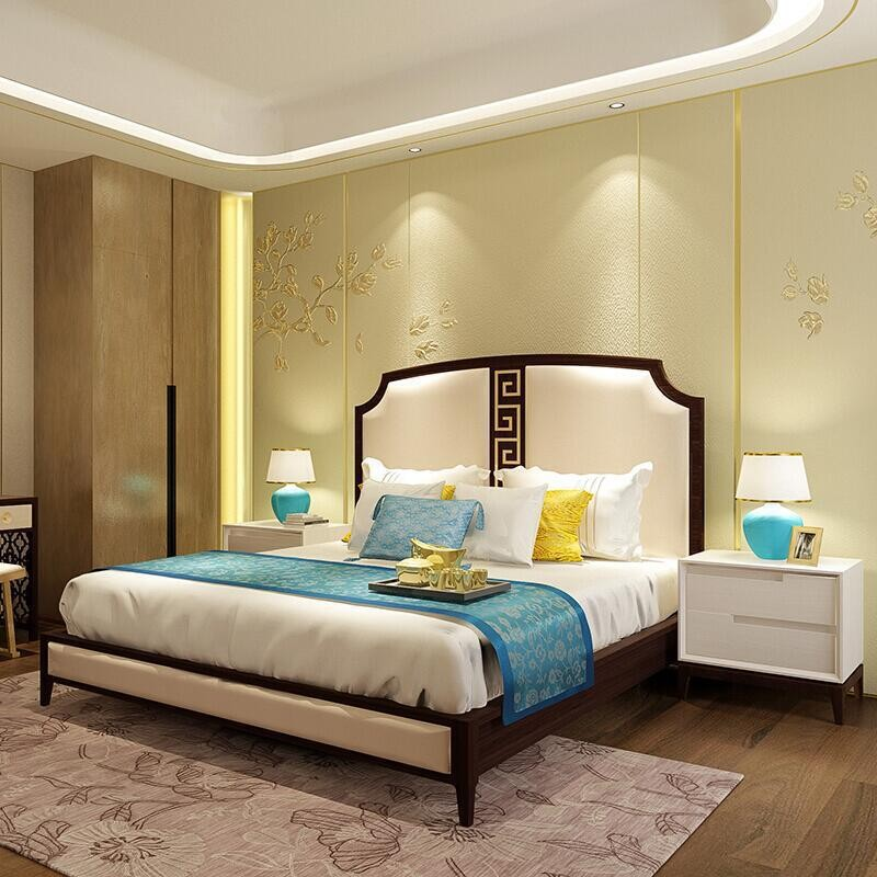 Hotel furniture TV table apartment hotel furniture standard room full set of customized tables and chairs bedside soft bag single room bed