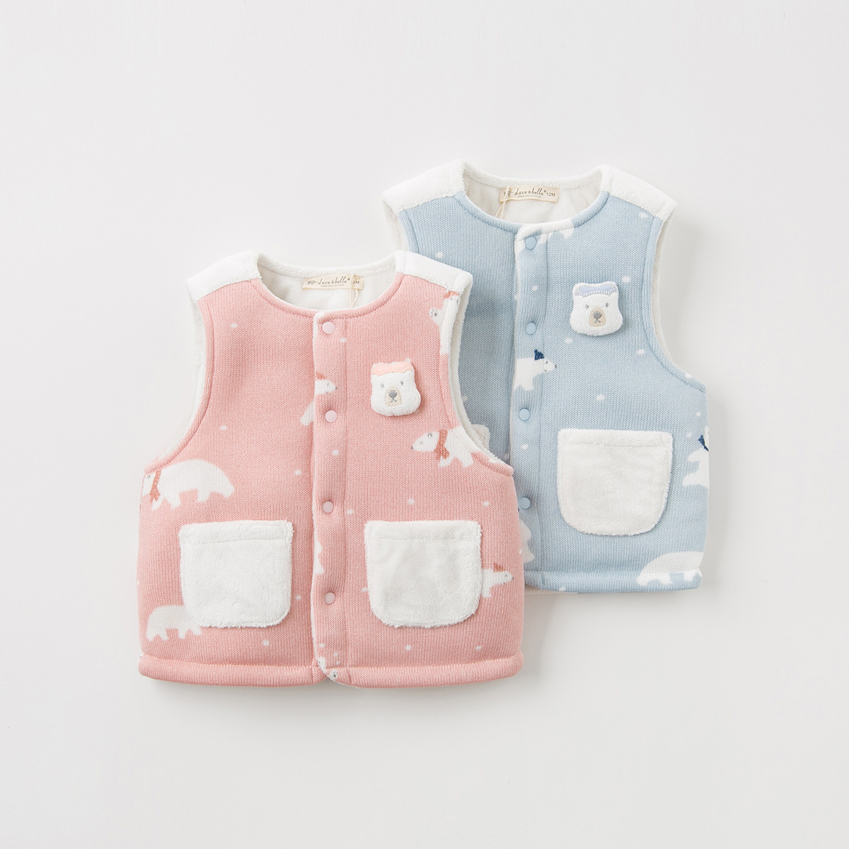 Anti season warehouse clearing, David Bela children's vest, autumn and winter, baby girl, cotton padded tank top, plush coat, male