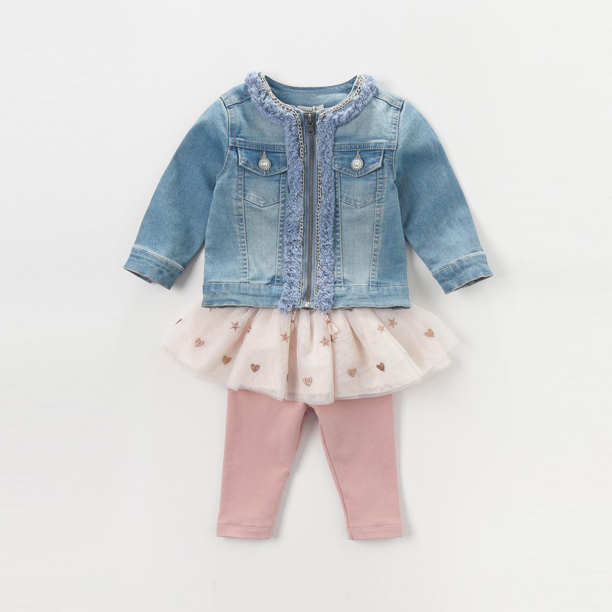 戴維貝拉牛仔女寶寶拉鏈外套
