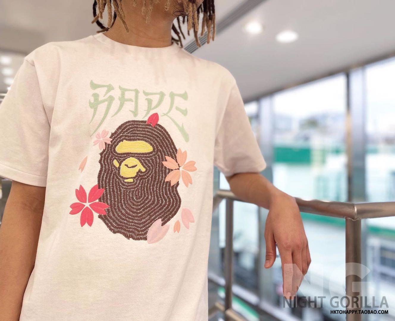 NG歡歡香港潮牌 BAPE 20夏季男女CP櫻花猿人頭刺繡短袖T恤110082