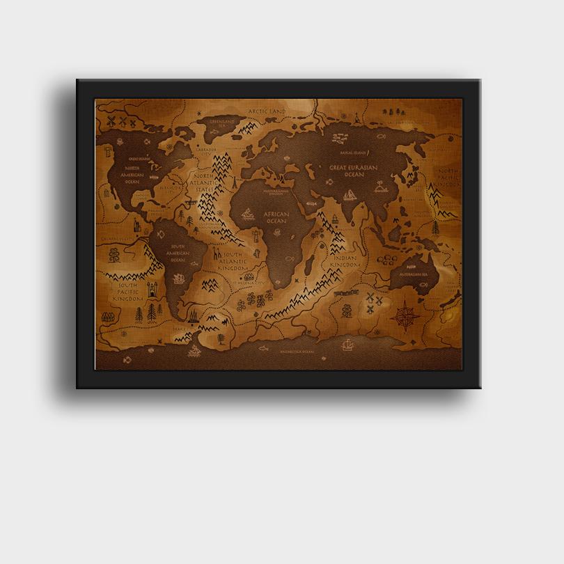 世界地图实木现代简约客厅有框画