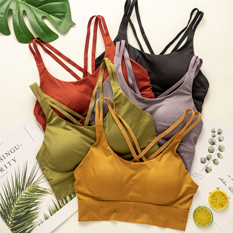 Beautiful back bra gathered sexy cross band bra thin sports underwear womens shockproof RUNNING VEST without steel ring