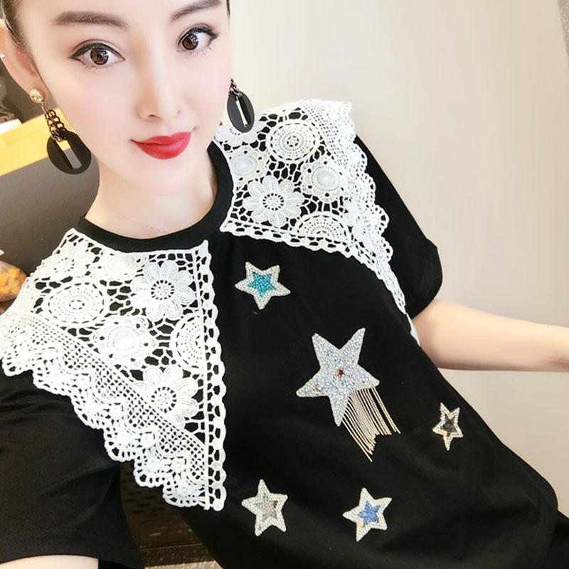 欧洲站甜美蕾丝领纯棉T恤娃娃领短袖星星流苏打底衫宽松上衣女夏