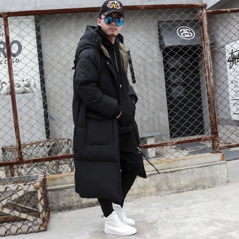 秋冬新款加厚棉衣国潮韩版羽绒棉过膝加长款棉大衣潮男棉袄子外套
