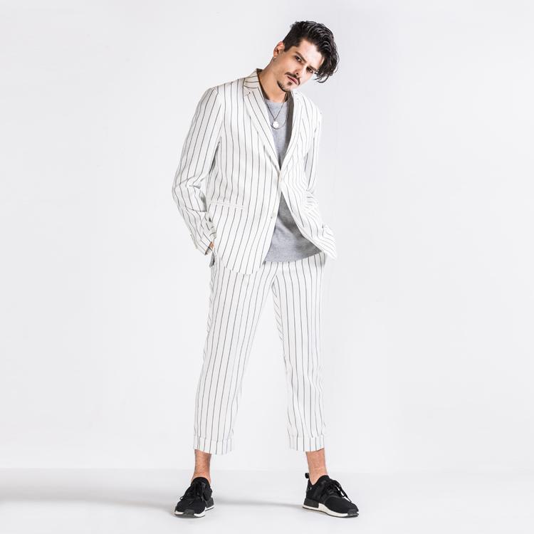 Spring and summer new original custom mens British fashion white stripe loose casual thin suit fashion
