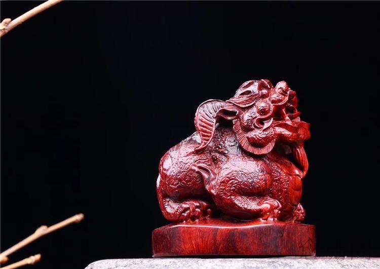 木雕摆件印度小叶紫檀拆房老料招财貔貅送礼装饰工艺品创意