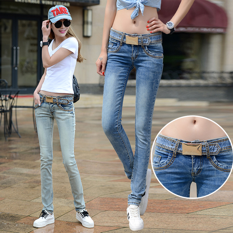 Students low waist tight jeans pants womens spring and autumn 2021 new Korean elastic slim slim little foot pencil pants