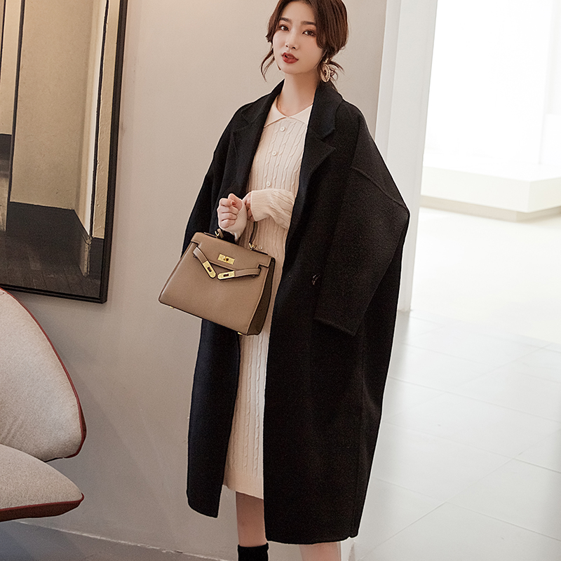 New cocoon cashmere coat womens large coat double-sided woolen jacket long knee plus fat wide version Korean loose