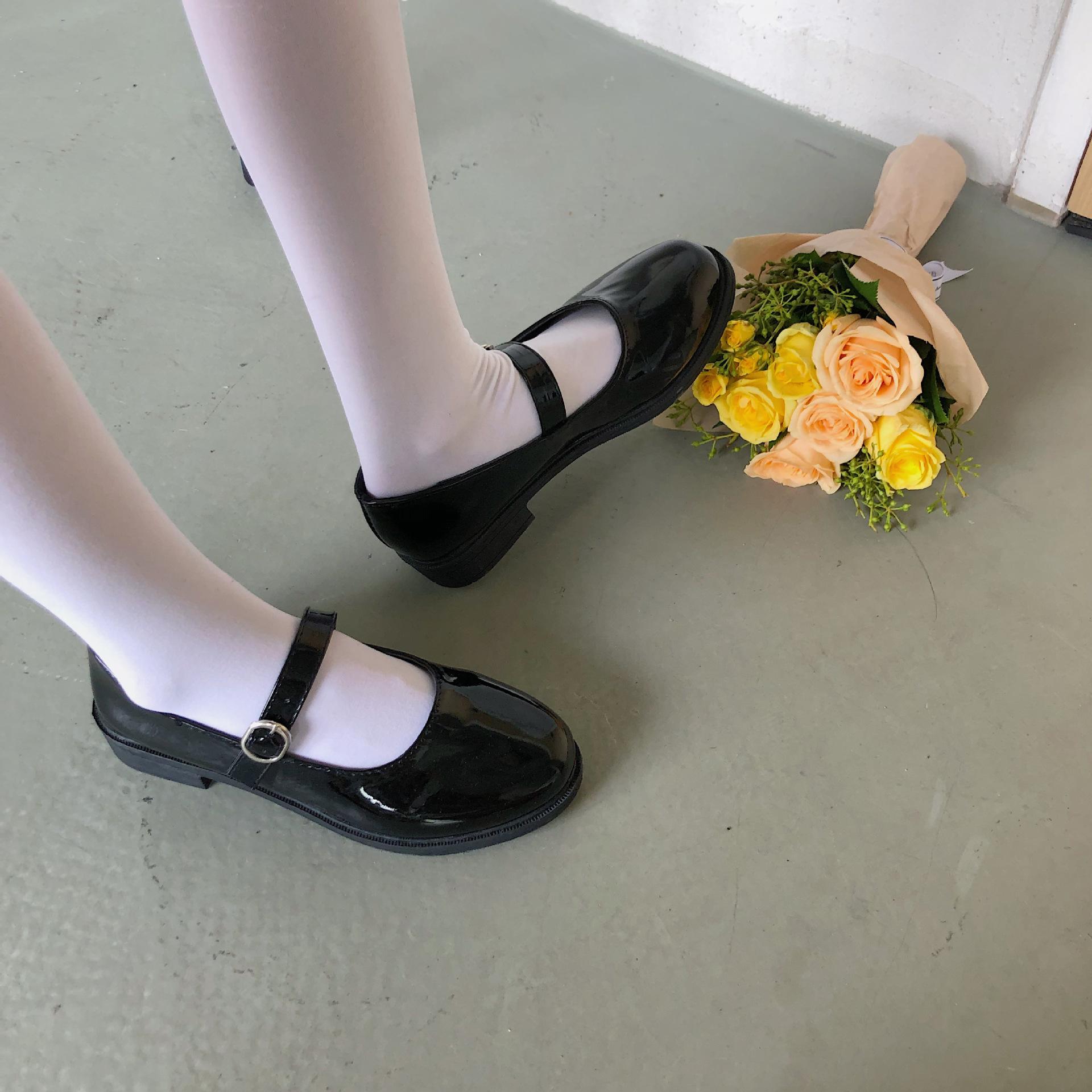 2020新款夏天jk黑色小皮鞋女百搭中跟一字扣圆头单鞋学生玛丽珍鞋
