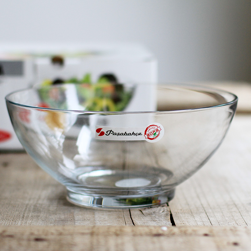 进口钢化汤碗烘焙耐高温 透明玻璃 加厚大碗沙拉碗水果蔬菜盆