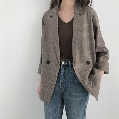 5siss格子西装外套女韩版2019春装英伦风薄款宽松休闲复古小西服