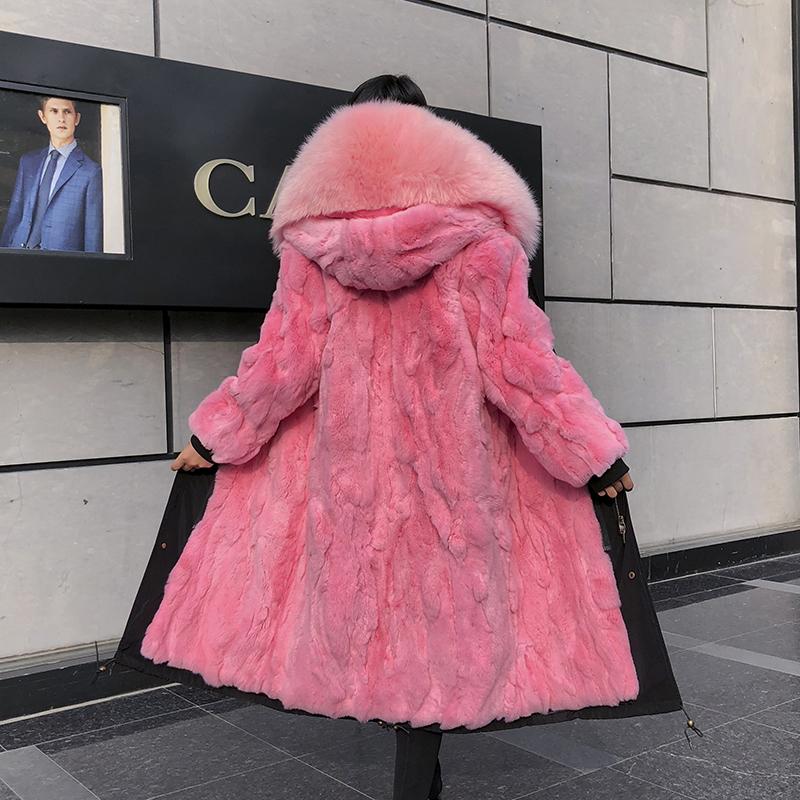 Star style to overcome female Rex Rabbit Fur liner plus oversized Parka hooded detachable fur coat winter
