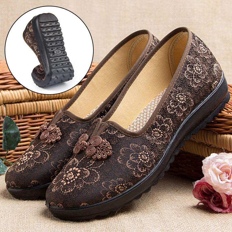 北京老布鞋老人奶奶鞋女平底老年女士单鞋春秋季新款平跟妈妈棉鞋