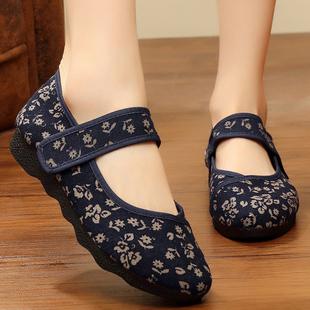 女夏季 女式 夏中老年人方口绣花单鞋 老北京布鞋 薄款 女鞋 41一43大码