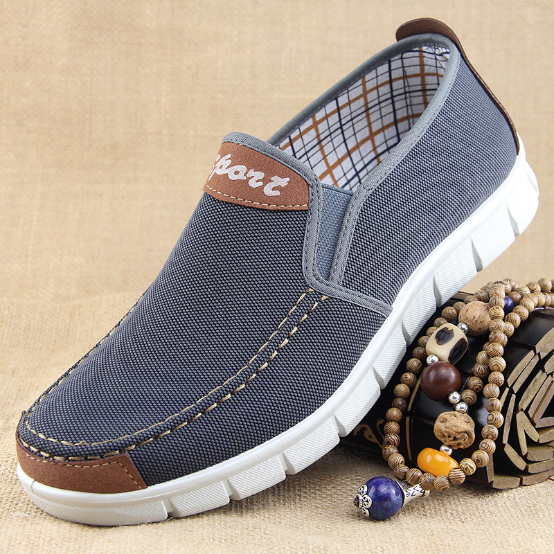 便鞋男休闲布鞋老北京一脚蹬男中年鞋老年人加大加肥单鞋男士鞋子