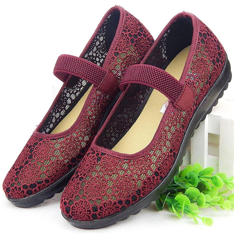 中老年人穿的方口鞋奶奶妈妈平底鞋软底凉鞋北京老布鞋女新款鞋子