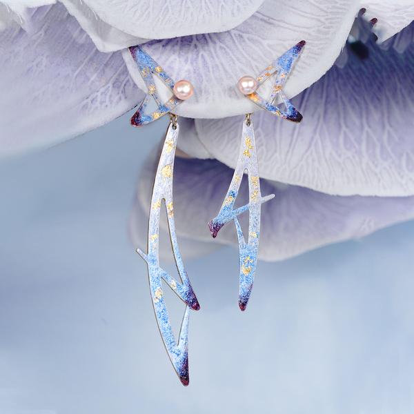 绘间手绘蝴蝶不对称耳环耳夹,送女朋友闺蜜非常仙的礼物