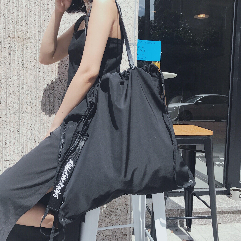 FKXGSS 原創束口袋抽繩袋飄帶雙肩包可單肩雙肩大容量防水健身包