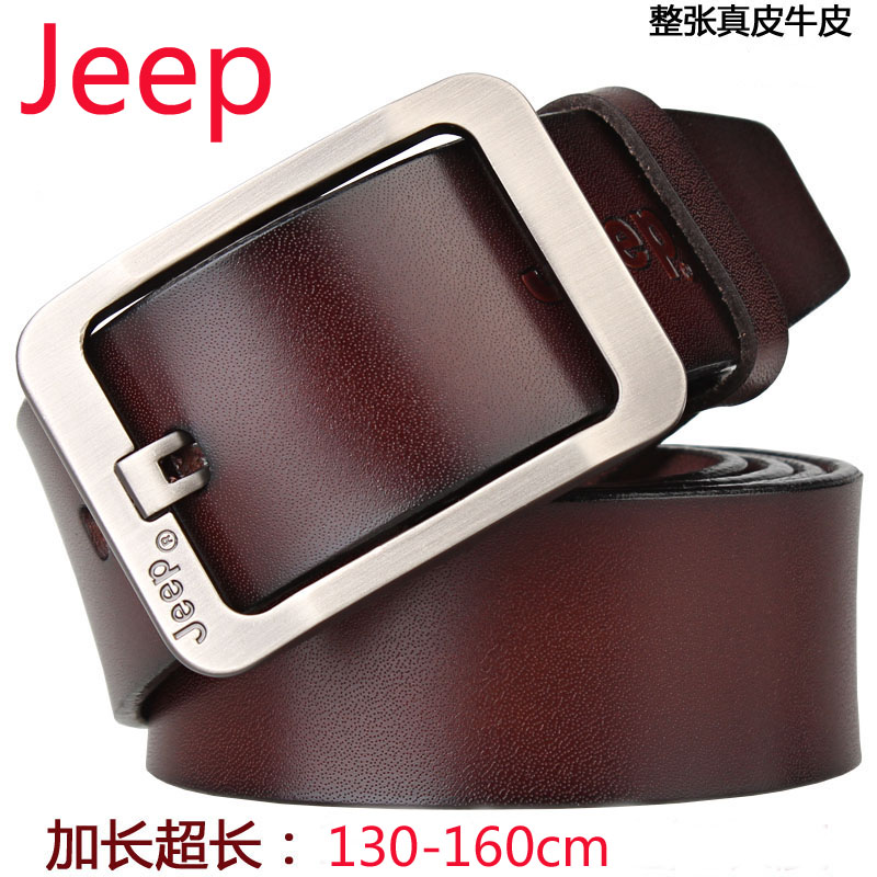 Jeep mens long leather belt leather fat youth big size 150cm waistband extra long 160cm Jeans Belt