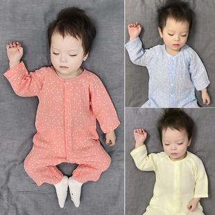 婴儿衣服秋0薄款长袖3纱布6睡衣