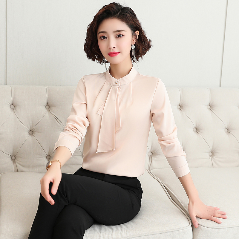 Stand Collar Chiffon shirt womens long sleeve spring 2020 new Korean fashion foreign style high collar with underlay shirt inch