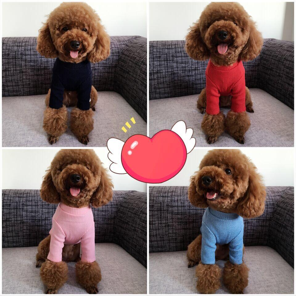 泰迪狗狗秋装纯色高领打底衫宠物贵宾比熊幼犬小型犬衣服