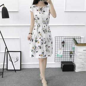 2020夏季新款无袖印花a字裙女韩版收腰修身棉绸碎花连衣裙短款裙