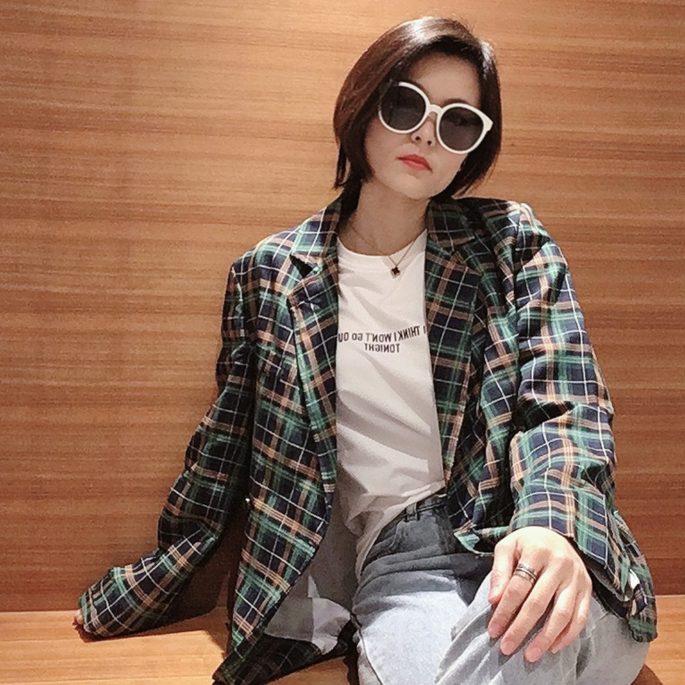 Spring and autumn 2020 new Korean casual fashion small retro Hong Kong Style Green Plaid suit coat Female Minority