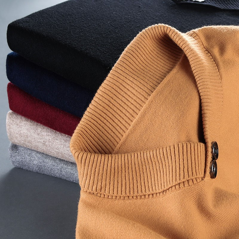 Winter Hengyuanxiang authentic mens round neck thickened Pullover Sweater mens heart neck sweater knitted base coat