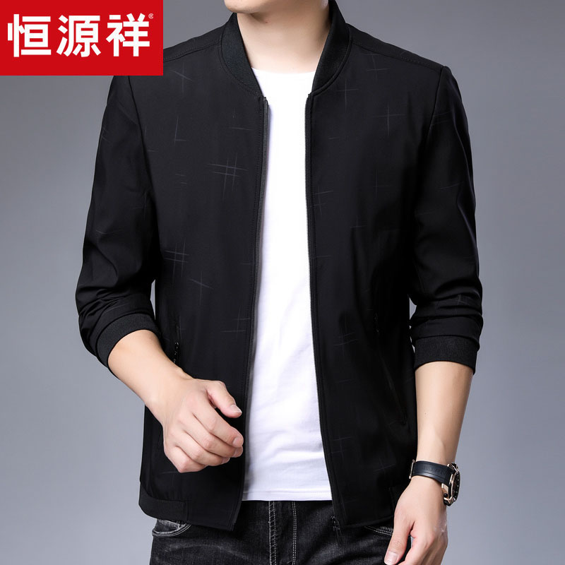 Autumn mens sportswear casual jacket thin 50 clothes 30-year-old middle-aged dad 40 autumn Pu coat 35.