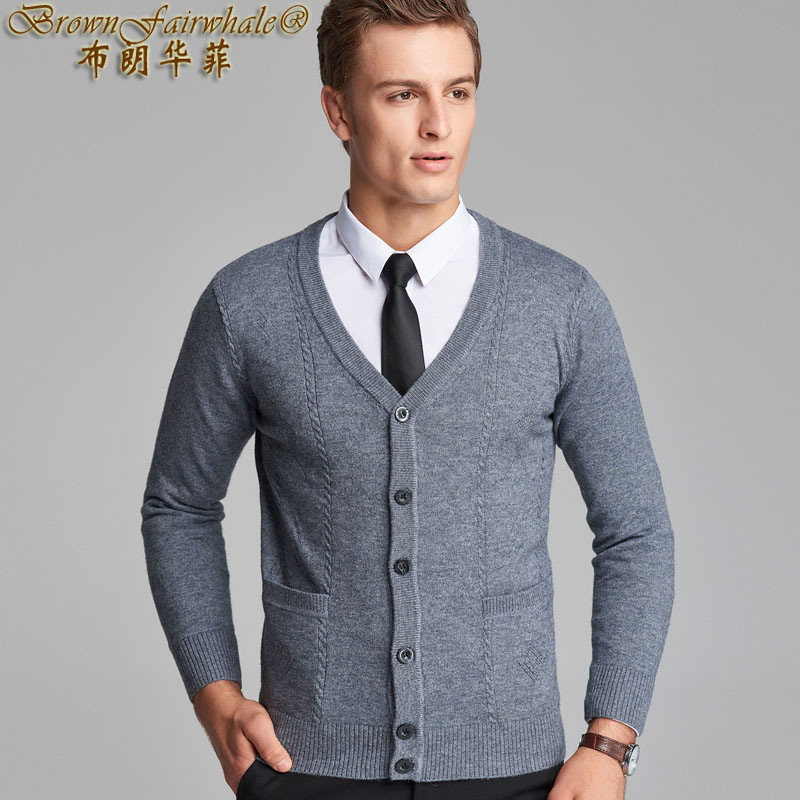 Autumn and winter mens knitted cardigan cardigan long sleeve young mens pure color British wind clothes jacket fashion