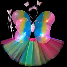 圣诞节六一儿童演出服天使蝴蝶翅膀四件套花仙子cos表演道具翅膀