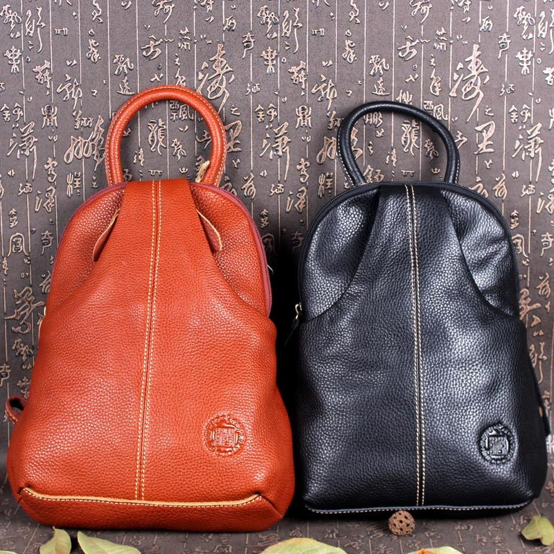 Tibetan leather guest cowhide womens backpack college style small schoolbag leather leisure Womens bag retro Mini Backpack womens bag