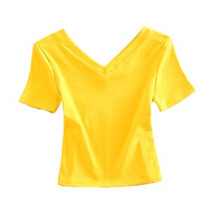 高腰短款T恤女夏短袖v領露臍上衣超短漏肚臍半袖純色潮ins半截袖