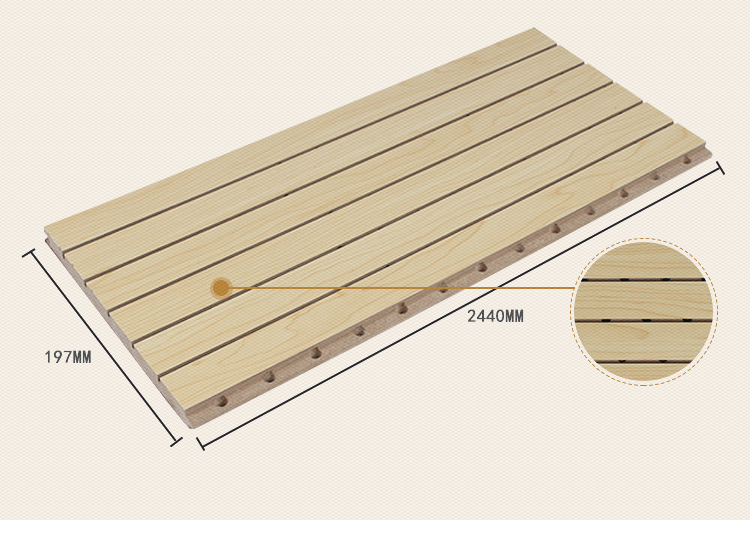 Wood sound absorption board flame retardant solid wood slot wood perforated school sound insulation board wall decoration material conference room recording studio